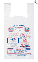 "PLASTIC- T- SHIRT BAGS AD SIZE  2""X 8""BANNER"